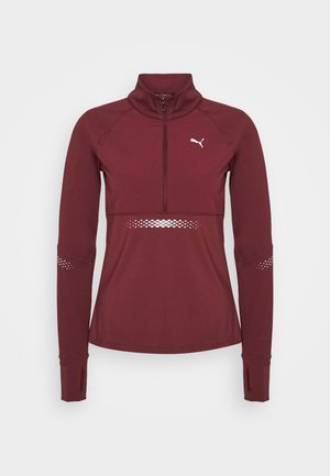 RUNNER ZIP - Sports shirt - burgundy