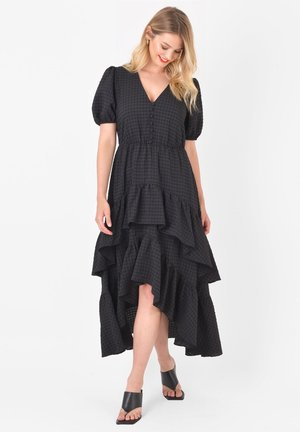 CHECK DOUBLE TIERED - Day dress - black