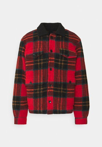 TARTAN CHECK JACKET WITH TEDDY COLLAR