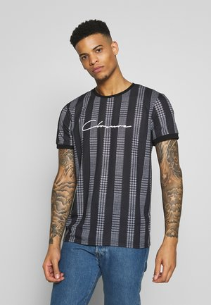STRIPED CHECK TEE - Print T-shirt - black
