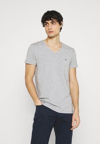STRETCH V NECK TEE - Basic T-shirt - medium grey heather