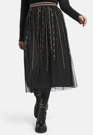 MIT GESTICKTEM ETHNO-MUSTER  - A-line skirt - schwarz