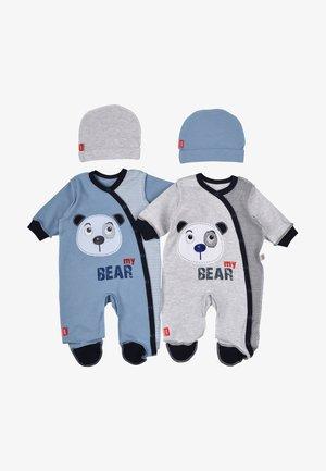 BABY SET BEAR 4 PACK - Kruippakje - grau/blau