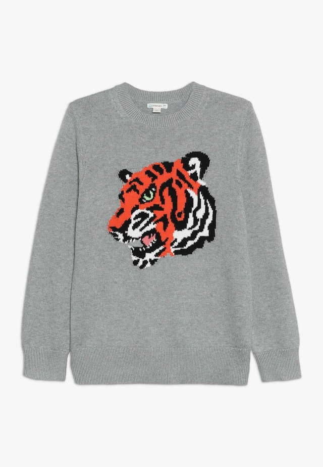 TIGER INTARSIA CREW  - Pullover - grey/persimmon/multi