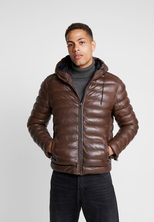 WARMER - Leather jacket - mocca