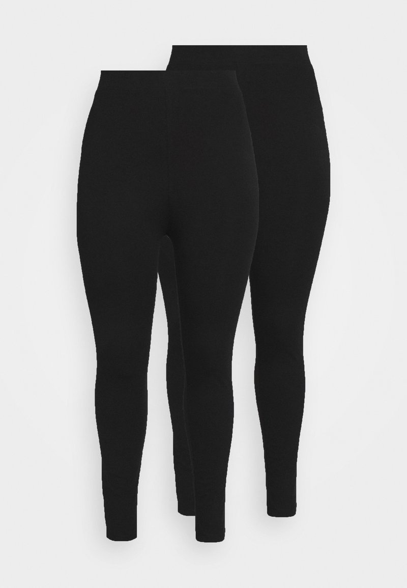 Even&Odd Curvy - 2 pack HIGH WAIST legging - Leggings - Trousers - black