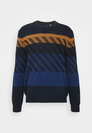 MENS CREW NECK - Svetr - dark blue/orange