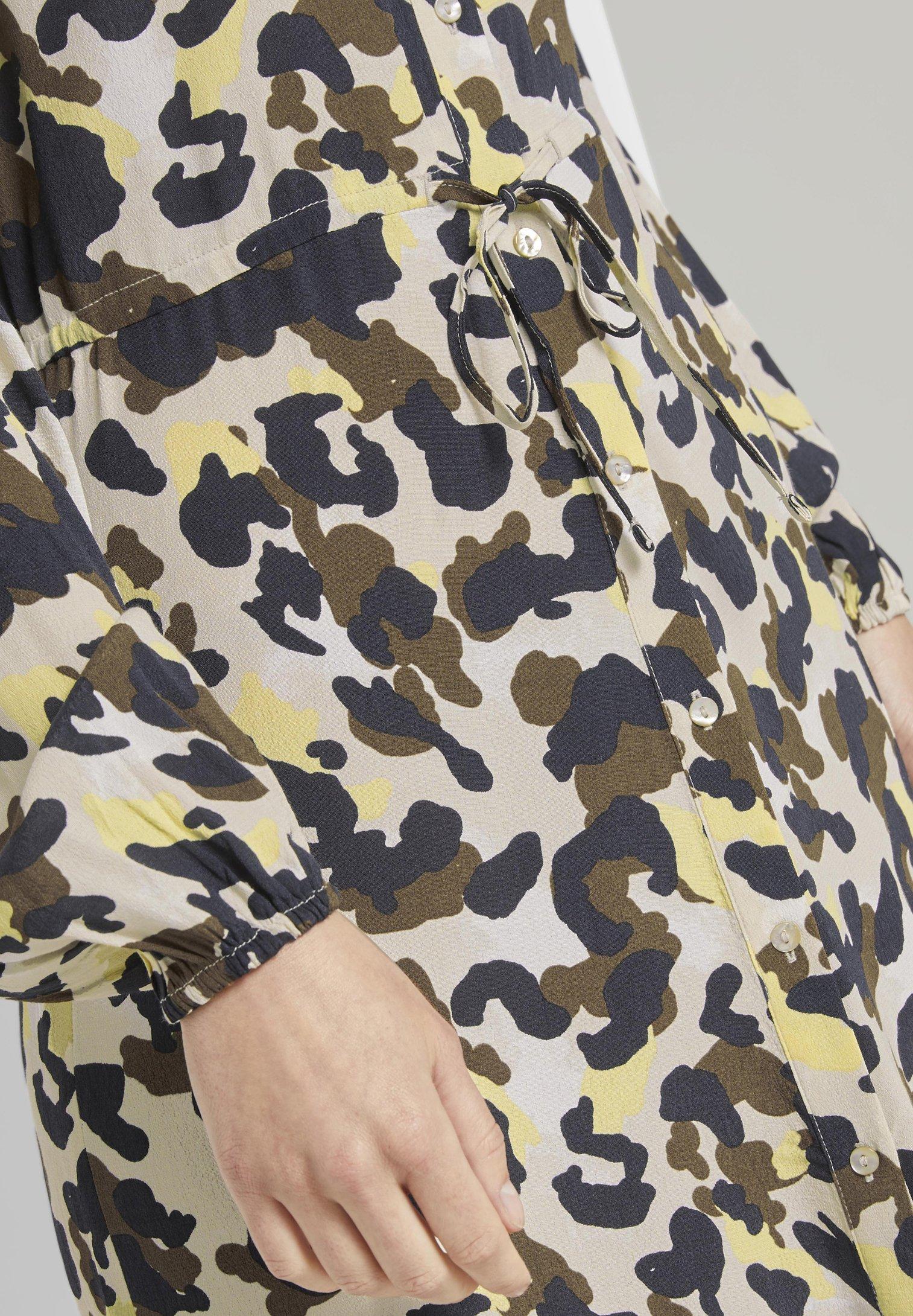 TOM TAILOR FLOUNCE Blusenkleid khaki/yellow/mehrfarbig