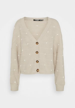 POLKA DOT BALLOON SLEEVE CARDIGAN - Gilet - stone