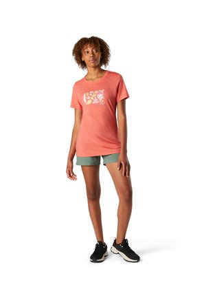 Print T-shirt - sunset coral heather