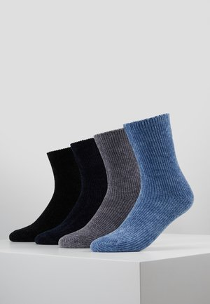 CHINILLE SOCKS 4 PACK - Ponožky - black