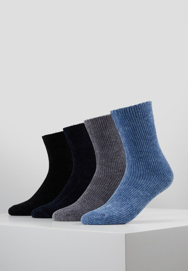 CHINILLE SOCKS 4 PACK - Sokken - black