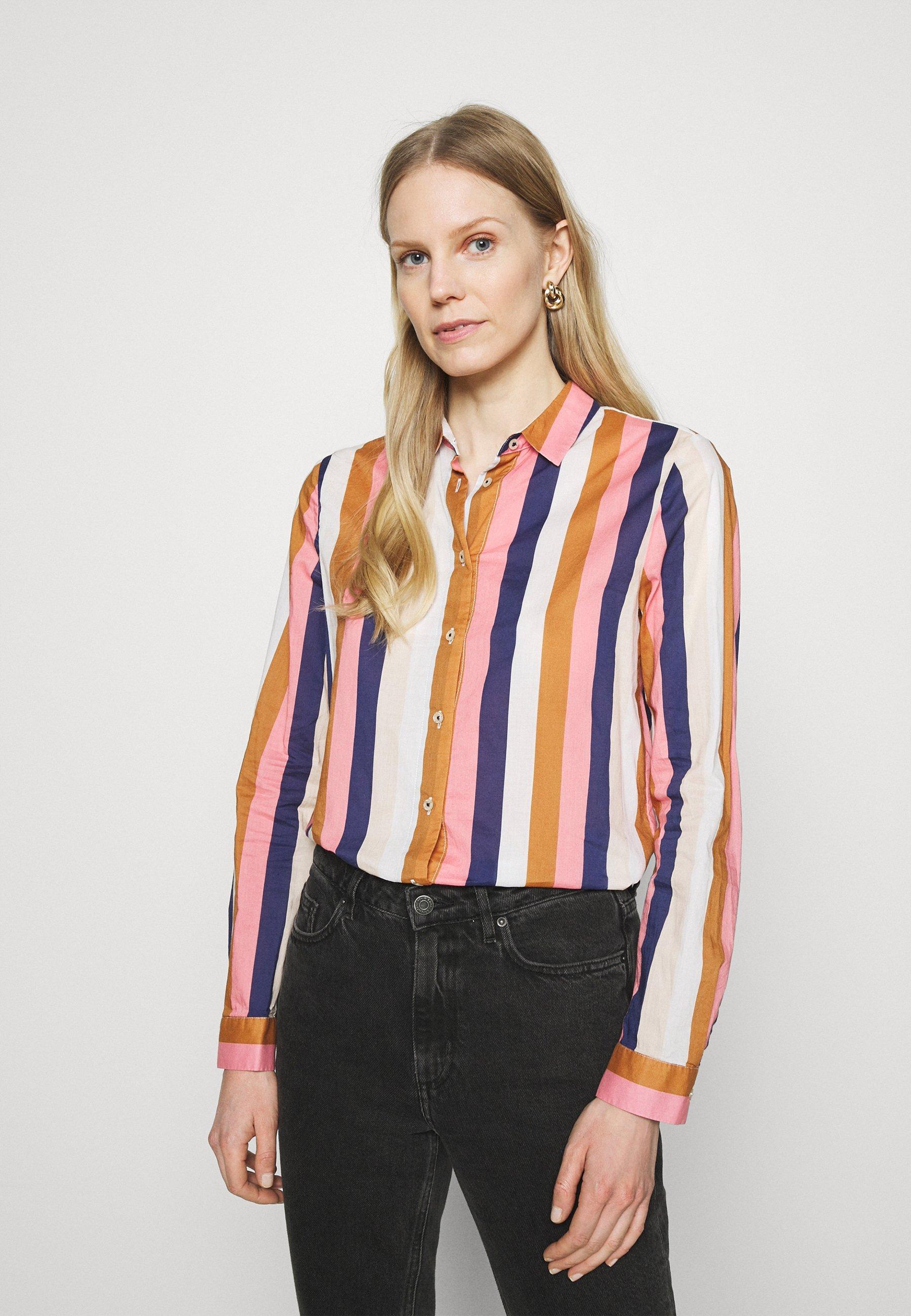 Women Button-down blouse - brown/rose/blue