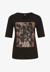 s.Oliver BLACK LABEL - MIT PAILLETTEN - Print T-shirt - black sequins placed print - 5