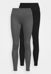 VIBE 2 PACK - Leggings - Trousers - black and dark grey melange