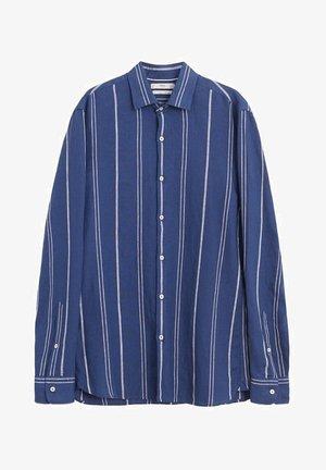 SLIM FIT-LEINENHEMD MIT KAROMUSTER TAMI  - Skjorter - dunkles marineblau