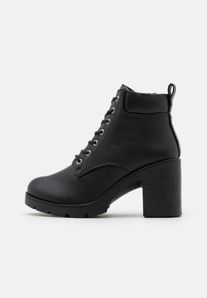 CALEY HEELED LACE UP - Snørestøvletter - black