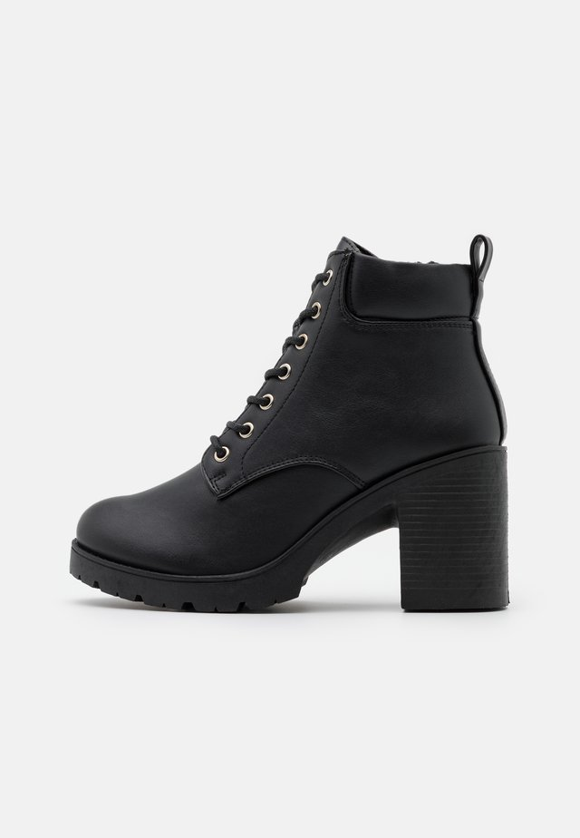 CALEY HEELED LACE UP - Snörstövletter - black
