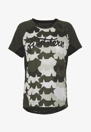 TECHZONEZ - T-shirt z nadrukiem - fog green/forest night/jester red