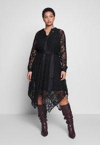 Live Unlimited London - HANKY HEM DRESS - Vestido camisero - black - 0