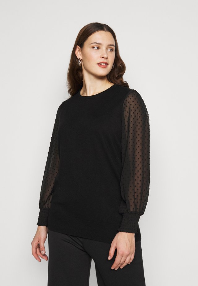 DOBBY SLEEVE JUMPER - Strickpullover - black