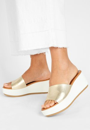 Heeled mules - gold gld