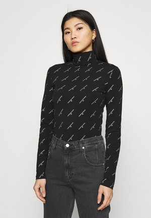 LOGO STRETCH ROLL NECK - Long sleeved top - black
