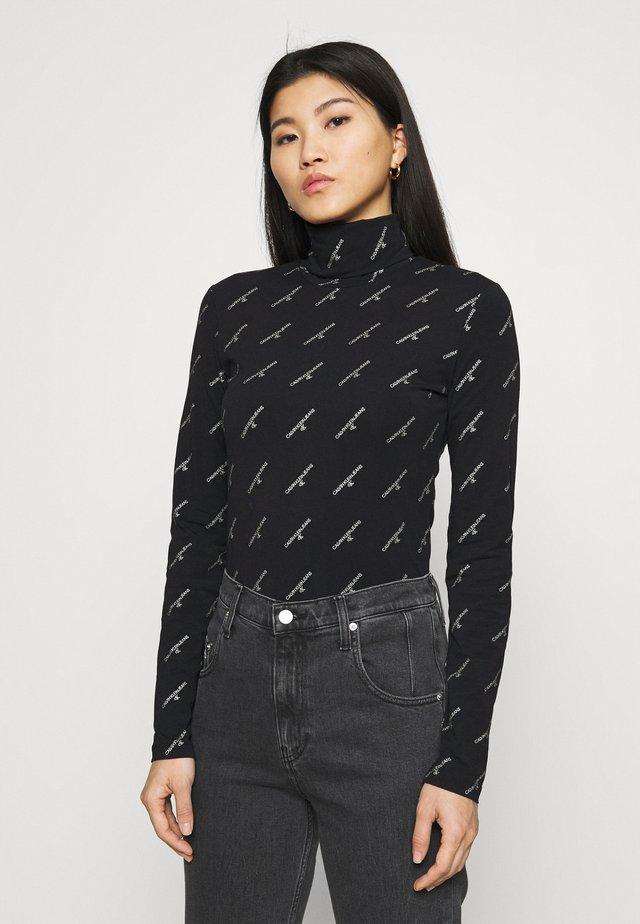 LOGO STRETCH ROLL NECK - Bluzka z długim rękawem - black