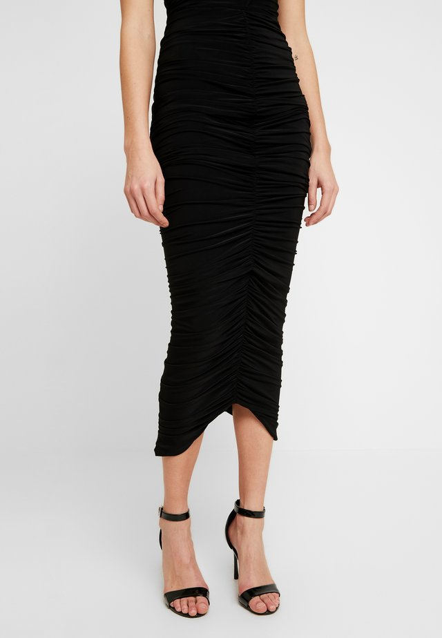 RUCHED FRONT MIDAXI SKIRT - Pencil skirt - black