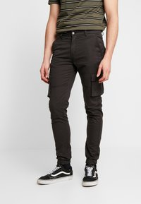 Denim Project - CARGO PANT PLAIN - Bojówki - black - 0