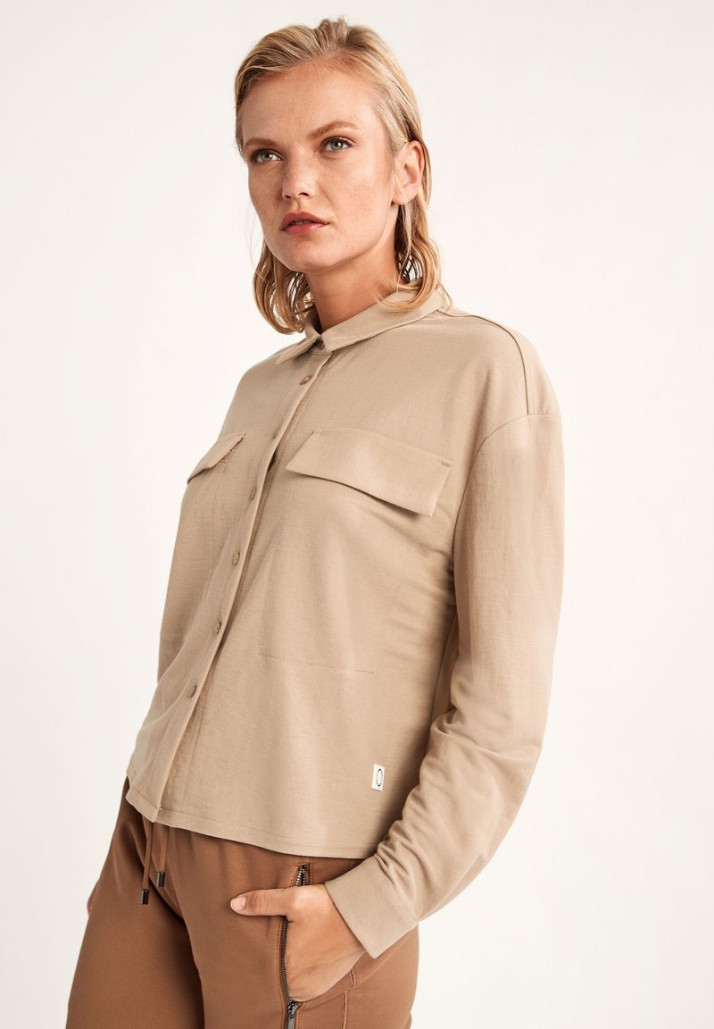 comma casual identity - Button-down blouse - dark beige