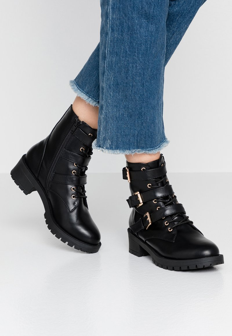 Bianco - BIACLAIRE BASIC BOOT - Cowboy/biker ankle boot - black
