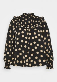 Glamorous Curve - SMOCKED HIGH NECK BLOUSE WITH LONG SLEEVES - Bluser - black/sand - 3