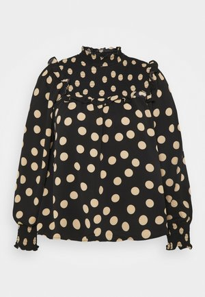 SMOCKED HIGH NECK BLOUSE WITH LONG SLEEVES - Bluser - black/sand