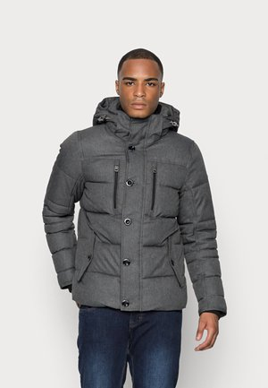 PADDED JACKET WITH HOOD - Winter jacket - grey garment dye structure