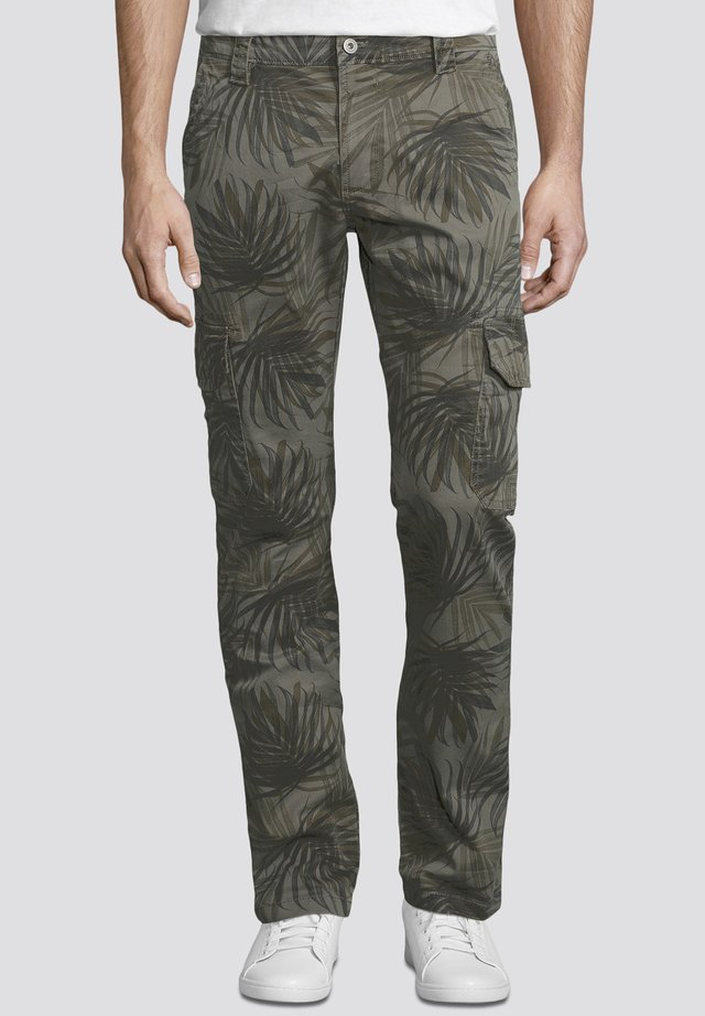 Cargo trousers - olive palm design