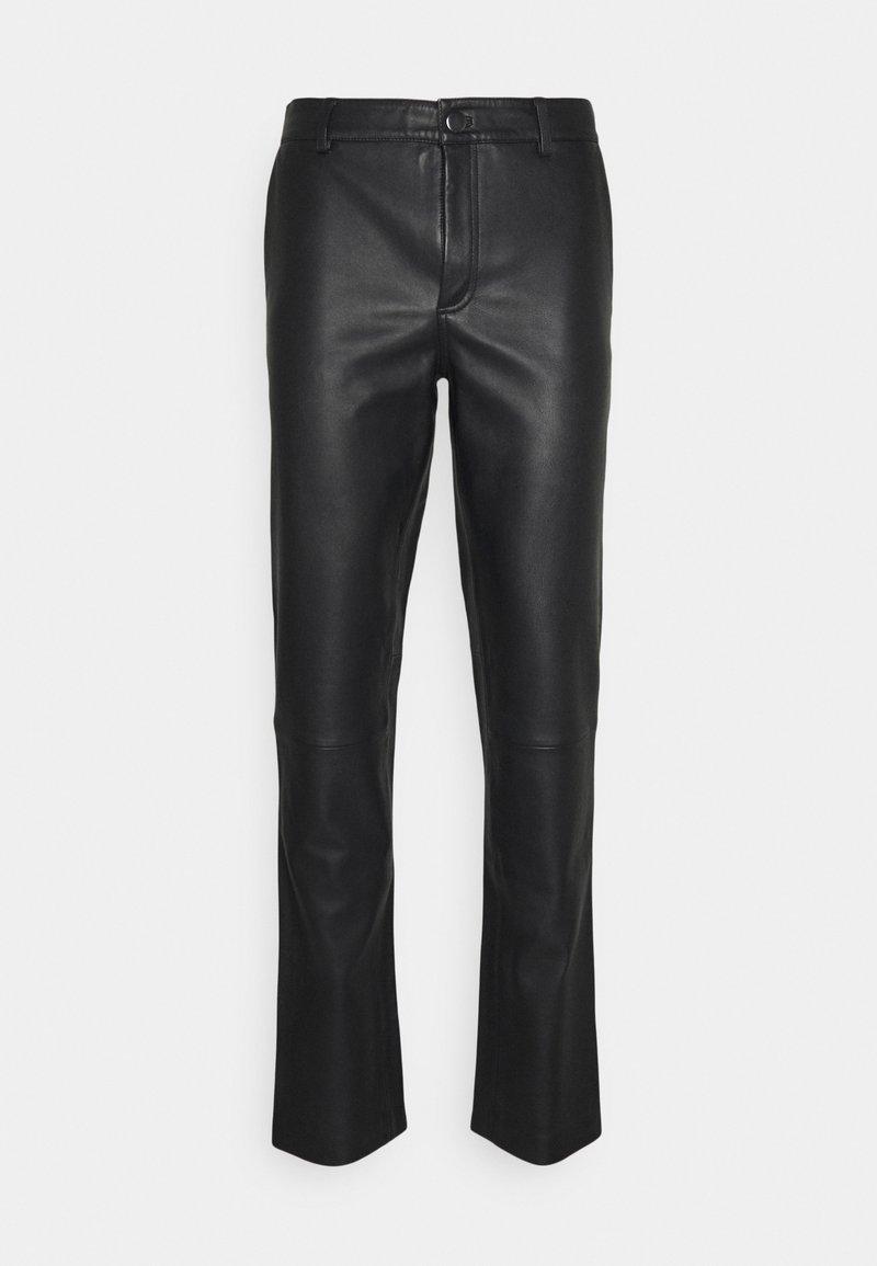 STUDIO ID - FITTED TOUSERS - Pantaloni di pelle - black