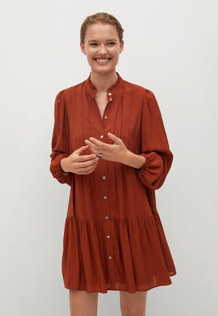 Mango - SOFIA - Shirt dress - rouge-orangé