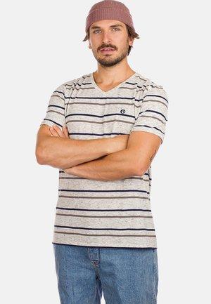 Print T-shirt - white black speck/striped