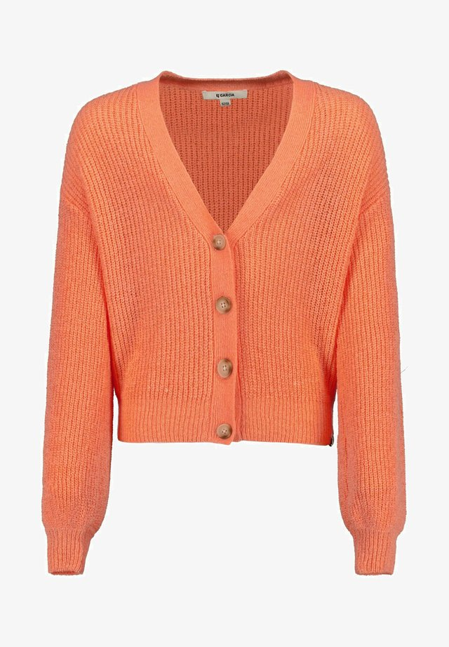 WITH BUTTONS - Cardigan - peach neon