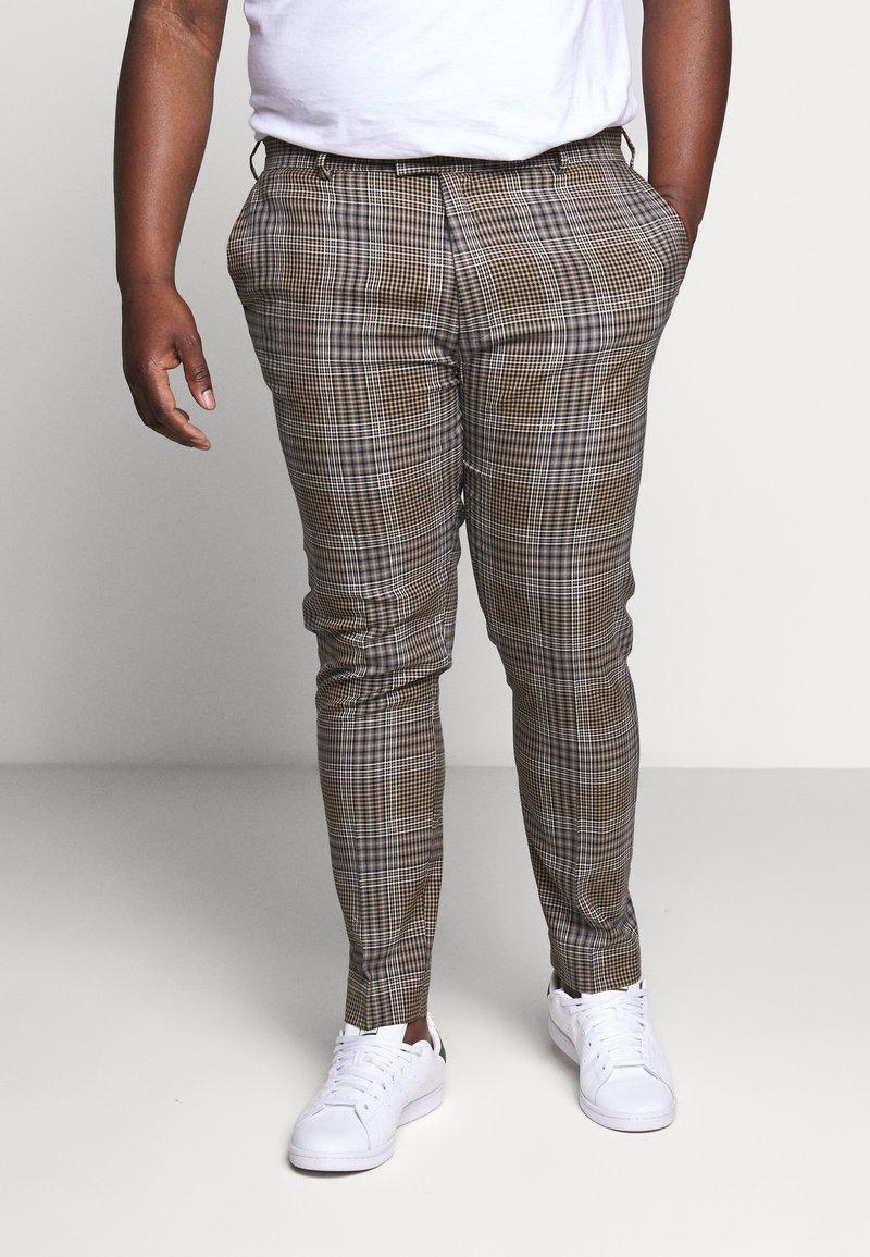 Topman - HERI CHECK - Pantalon de costume - brown