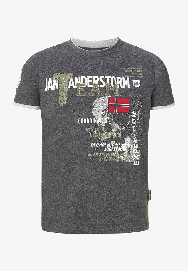 SÖLVE - Print T-shirt - dunkelgrau