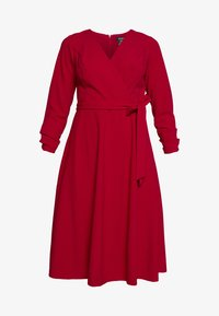 RUCHED COVERED BUTTON SLEEVE FAUX WRAP FIT & FLARE - Jersey dress - scarlet