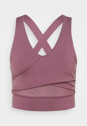 WRAP CROP - Light support sports bra - rose brown