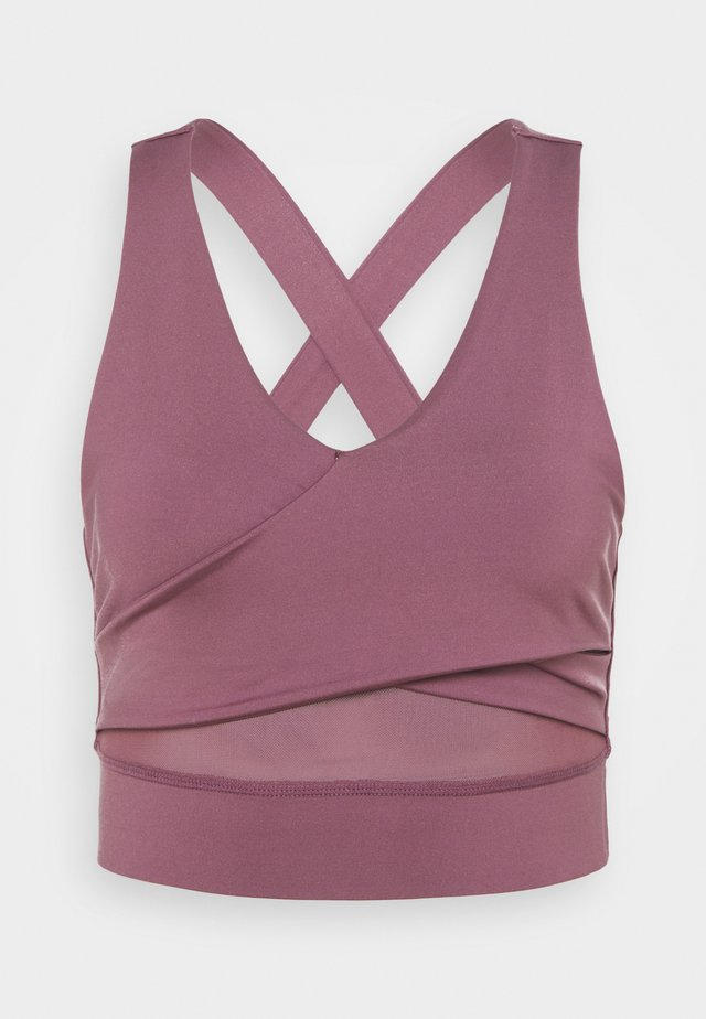 WRAP CROP - Light support sports bra - rose brown
