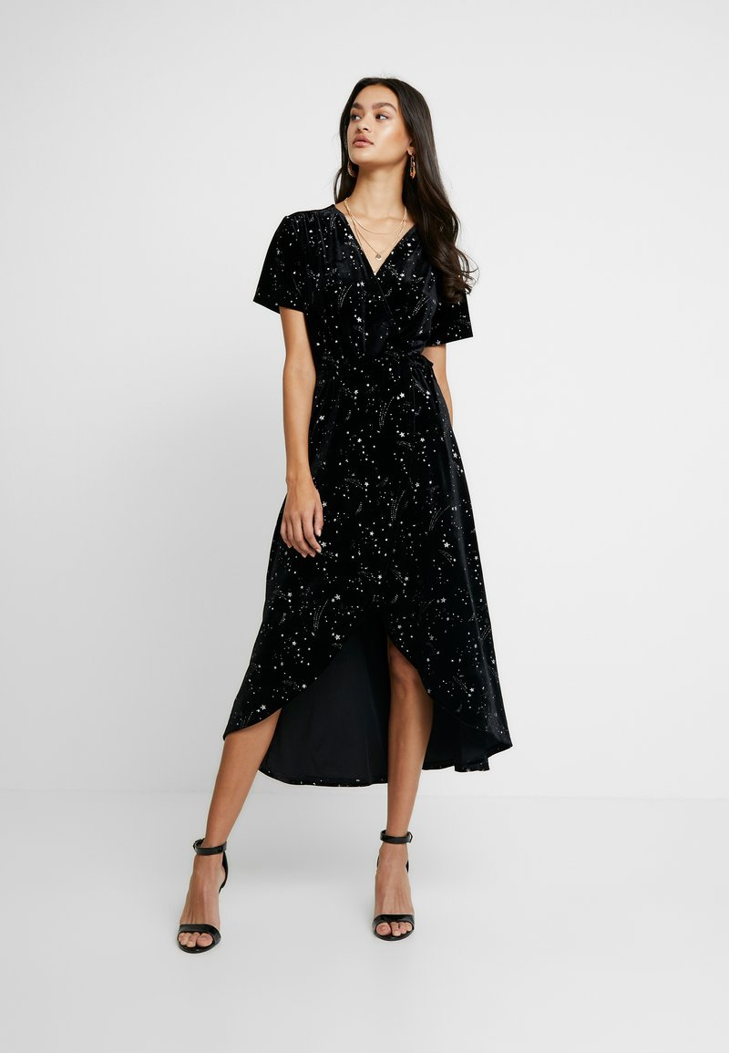 Missguided - LIGHT MAGIC STAR WRAP MIDI DRESS - Robe longue - black