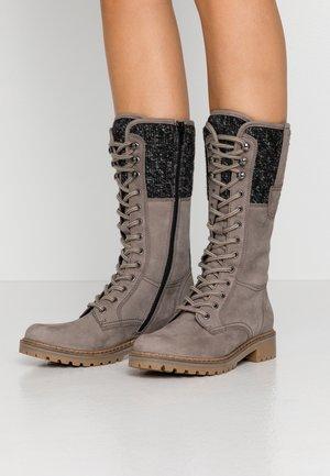 Stivali con i lacci - grey