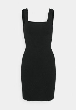 RIBBED NECK MIDI - Strikket kjole - black