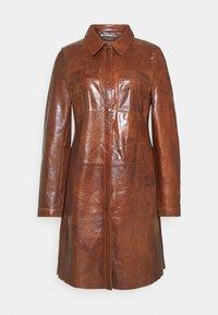 FREJA - Short coat - cognac