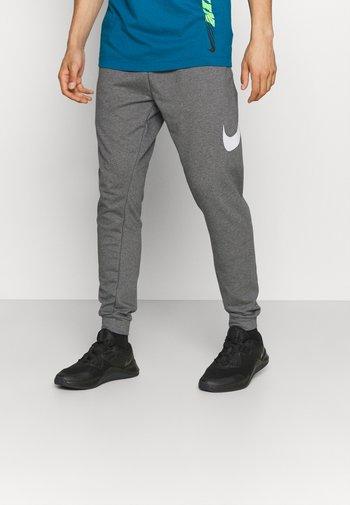 TAPER - Pantaloni sportivi - charcoal heather/white